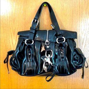 Francesco Biasia black patent leather purse